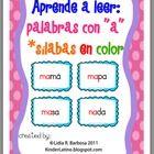 Aprende a leer: palabras con a -silabas en color-This book contains:   - word cards with