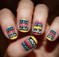 We love this aztec nail art! #boho #bohemian #nails