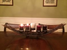 New twist on an Advent Wreath. I bought this at Pier 1 Imports.