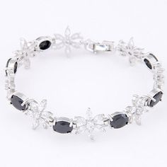 Cool Black Diamond Decorated Flower Design Zircon Korean Fashion Bracelet ,Priced At Only US$9.43(Free Shipping)