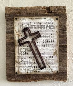 The Old Rugged Cross hymn with string art cross on barn wood