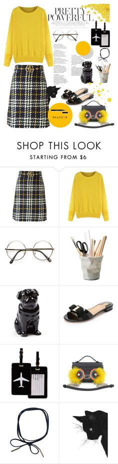 """Yellow !"" by menina-ana ❤ liked on Polyvore featuring Gucci, ESSEY, Quail, Salvatore Ferragamo, TravelSmith and Fendi"