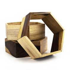 Reclaimed Hexagon Shelves - Set of 3 | dotandbo.com