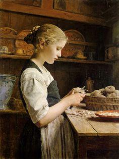 Albert Anker (1831-1910), Girl Peeling Potatoes.