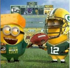 Aaron Rodgers and Cheesehead Minions - NFL Green Bay Packers Packers Baby, Go Packers, Packers Football, Best Football Team, Football Baby, Greenbay Packers, Football Season, Football Stuff, Vikings Football