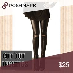 SLIT KNEE LEGGINGS 🆕 (leather) Just like its normcore sister, the cotton cut out leggings, this leather version is a staple that makes it even sexier than ever! Give your cotton version a rest and go with this one for a night out!  Materials are 92% polyester, 8% spandex. Price is firm unless bundled. Pants Leggings