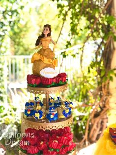 Outdoor Beauty and the Beast  | CatchMyParty.com Dessert Stand, Dessert Tables, Belle Beauty And The Beast, Sweet 15, Birthday Parties, Photo Galleries, Bridal Shower, Table Decorations, Elegant