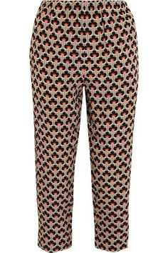 Marni - Printed Silk Crepe De Chine Track Pants - Orange