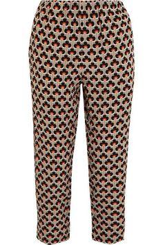 Marni - Printed Silk Crepe De Chine Track Pants - Orange