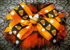 Boutique Stacked Hair Bow. Hallowwen Boutique Stacked Hair Bow Accessory with Maribou on Etsy, $13.00