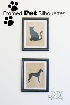 Framed Pet Silhouettes on Burlap