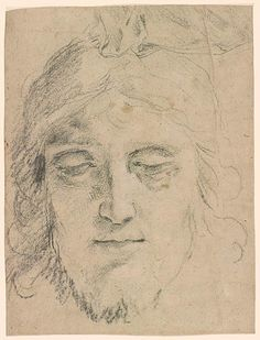 Italian School | Head of a Bearded Man. Verso: study of arms and drapery | Drawings Online | The Morgan Library & Museum