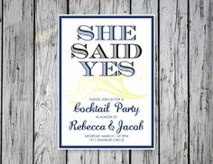 Simple Engagement Party Invitation by RejoiceGraphics on Etsy
