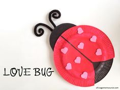Step by step directions to make this darling love bug with your kids crafts for Crafts For Kids To Make, Craft Activities For Kids, Kids Crafts, Daycare Crafts, Preschool Crafts, Craft Ideas, Valentines Day Party, Valentine Day Crafts, Valentine Activities