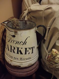 ♥♥♥ my french inspired antique watering pitcher~just a few stencils and a chippy worn can!]