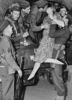 Actress Martha O'Driscoll kisses a soldier goodbye in Los Angeles, 1941. Photo by Keystone-France for Gamma-Keystone via Getty Images.