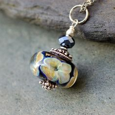Glass Bead Necklace Boro Lampwork Encased Flowers Focal by Venbead, $32.00