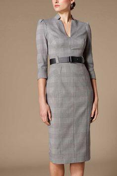 Womens Karen Millen Grey Minimal Metalwork Check Dress – Grey - All About Office Fashion, Work Fashion, Classy Outfits, Stylish Outfits, Dress Outfits, Fashion Outfits, Fashion 2018, Womens Fashion, Womens Dress Suits