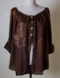 Hippy boho rayon earthy brown embroidered pearl by paintedpants