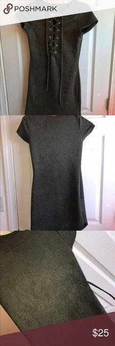 suede dress forest green suede tie up dress // form fitting // never worn WINDSOR Dresses