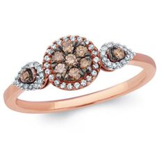 1/4 CT. T.W. Champagne and White Composite Diamond Frame Collared Ring in 10K Rose Gold