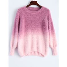 Ombre High-Low Sweater (1.495 RUB) ❤ liked on Polyvore featuring tops, sweaters, shirts, ombre shirt, shirt sweater, pink ombre shirt, ombre top and shirt top