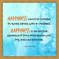 #Happiness is the spiritual experience of living every minute with #love , #grace and #gratitude . - Denis Waitley