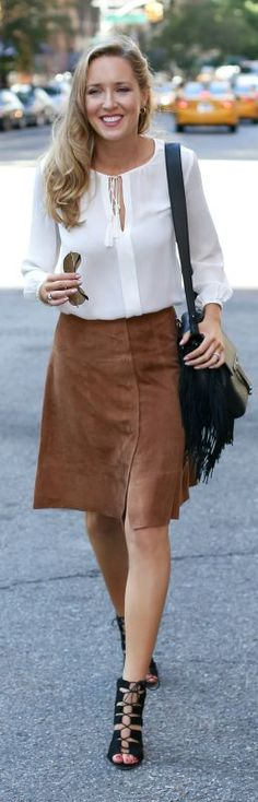 suede skirt, white split neck blouse, black lace up pumps, fringe bag + aviator sunglasses {joie, loeffler randall, christian louboutin, ray ban}