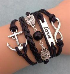 """NEW Infinity Owl Love anchor Friendship Leather Charm Bracelet Silver Cute 5 pulseiras castanhas que juntas conjugam excepcionalmente bem, assim como destacadas (sozinhas). inclusas no estilo casual, estas contem peças como uma âncora, fio trançado, miçangas mocho,smbolo do infinito e """"love"""". -------------------- Para mais informações e dicas, envie uma mensagem para: ownerstyle.mk@gmail.com Para mais informações e dicas, envie uma mensagem para: ownerstyle.mk@gmail.com."""