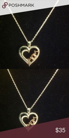 """❤️ DIAMOND (925) AND ROSE GOLD MOM HEART NECKLACE ❤️ This is a Sterling silver (925) and 14 kt. rose gold diamond heart mom necklace. This would make a great Valentine's Day gift for any mom or a mom to be. This has 1/10 ct. of total diamonds. The chain measures: 16""""L with a 2"""" extender. The Heart measures: 3/4""""L X 11/16""""W. Jewelry Necklaces"""