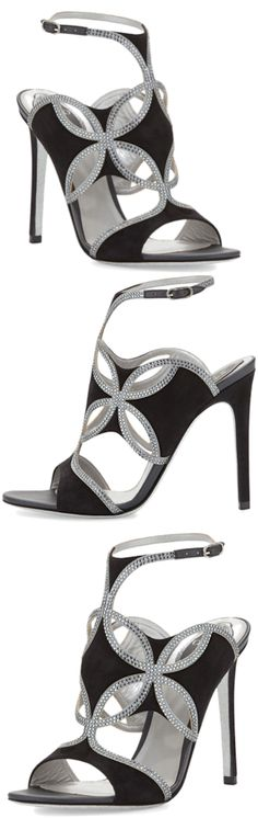 Rene Caovilla Strappy Suede & Crystal Sandal Pre-Fall 2014 #Shoes #Heels