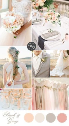 romantic peach and grey wedding color palettes