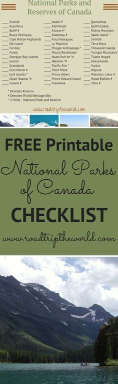 Canada National Parks Printable Checklist - Road Trip the World : Check Out this Printable National Parks of Canada Checklist. So many amazing wilderness treasures in Canada! Justin Trudeau, Ottawa, Quebec, British Columbia, Travel With Kids, Family Travel, Trekking, Ontario, Riding Mountain