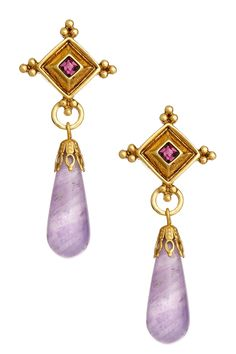 Antiquities Couture Collection Amethyst Briolette Dangle Earrings