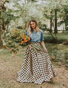 polka dot skirt // October's birth flower the marigold    #bouquet #weddingbouquet