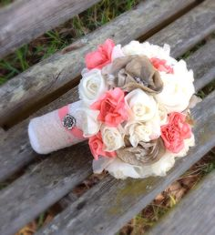 Coral Champagne Ivory Bridal Bridesmaid Bouquet Brooch Bling Bouquet on Etsy, $85.00 Fabric flowers brooch bouquet fabric bouquet Wedding shabby chic diy wedding