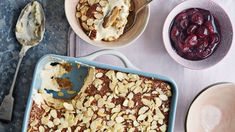 Almond tiramisu with cherry compote Gino D'acampo Recipes, Cherry Compote, Delicious Desserts, Dessert Recipes, Italian Recipes, Gino's Italian, Serving Dishes, Tiramisu, Almond