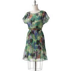 Watercolor Pleated Chiffon Dress