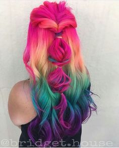 Super cute hairstyle and crazy rainbow colors!