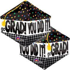 Anagram You Did It Grad Cap Anglez Giant 17 inchx21 inch Foil Balloon, Black, Multicolor