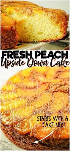 Peach Cake Recipes, Fruit Recipes, Dessert Recipes, Cooking Recipes, Pie Recipes, Easy Recipes, Easy No Bake Desserts, Delicious Desserts, Peach Upside Down Cake