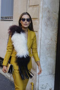 Giovanna Borza scarf Milan fashion week street style mum mui glasses, scribe by Roz suit