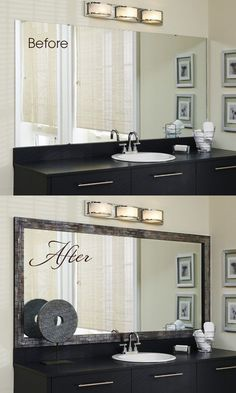 Bathroom Mirror Makeover budget bathroom makeover - a no grout tile mirror border. easy