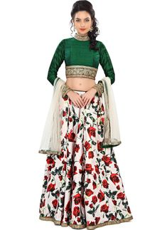 Buy Fabviva Multicolor Floral Printed Women's Lehenga online in India at best price. Lehenga Fabric: Bhagalpuri Silk Embroidered: Yes Type: Lehenga, Choli and Dupatta Set Pattern: Prin Indian Bridal Lehenga, Indian Bridal Fashion, India Fashion, Ethnic Fashion, Women's Fashion, Indian Attire, Indian Wear, Indian Dresses, Indian Outfits