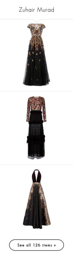 """Zuhair Murad"" by sakuragirl ❤ liked on Polyvore featuring dresses, gowns, zuhair murad, black, flare dress, flared dresses, embelished dress, embellished dress, flared hem dress and floral embroidered dresses"