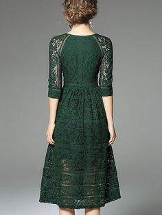 Green V Neckline Hollow Out Lace Dress Elegant Midi Dresses, Green Lace Dresses, Dressy Dresses, Sexy Dresses, Beautiful Dresses, Evening Dresses, Fashion Dresses, Fashion 2017, Prom Dresses