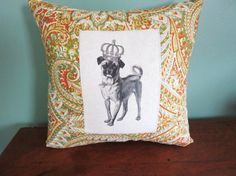 Vintage dog transfer pillow for sale from Etsy 112FarmhouseLayne; lots of great pillows for sale using transfer digital images from this seller.