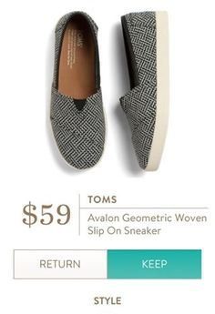 TOMS Avalon Geometric Woven Slip On Sneaker from Stitch Fix. https://www.stitchfix.com/referral/4292370