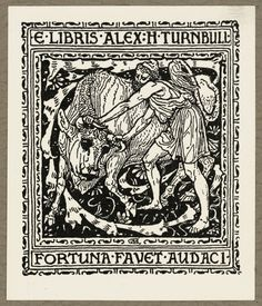 [Crane, Walter], 1845-1915 :E libris Alex H Turnbull. Fortuna Alexander Turnbull's first bookplate. Commissioned in June 1891 from notable English Pre-Raphaelite artist Walter Crane by Alexander Turnbull during a stay in London for 10 pounds. The drawing was sent to Turnbull on 8 July, but had to be returned to the artist for correction, because the final word of the motto was misspelt 'audace'favet audaci [1891]