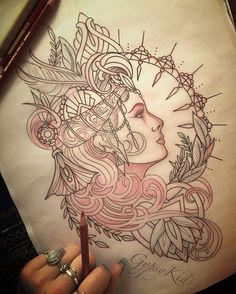 """Florid Art Deco piece I'm working on.. Inspired by one of my favourite Artists and biggest inspirations- Mr Alphonse Mucha. """"The purpose of my work was never to destroy but always to create, to construct bridges, because we must live in the hope that humankind will draw together and that the better we understand each other the easier this will become"""" #florid #floral #Mucha #alphonsemucha #muchaart #tattooart #tattoodesign #art #sketch #artist #artlife #artofig #artcrazee #illustration…"""